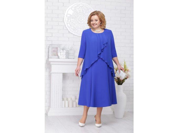 Luxusní společenské šaty pro plnoštíhlé Lauretta modré