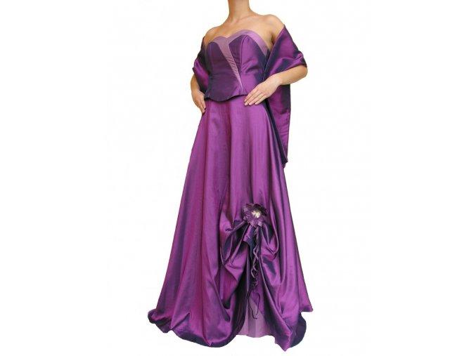 Dynasty luxusní společenské dlouhé šaty Meredith fialové s šálou