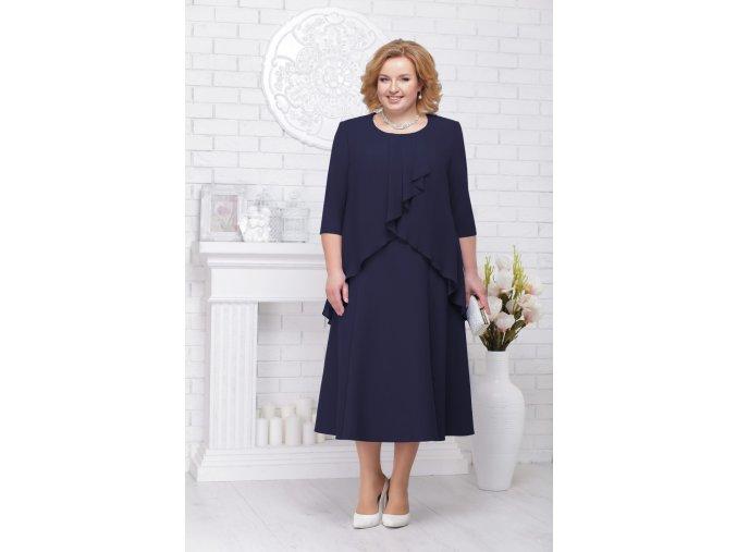 Luxusní společenské šaty pro plnoštíhlé Lauretta tmavě modré