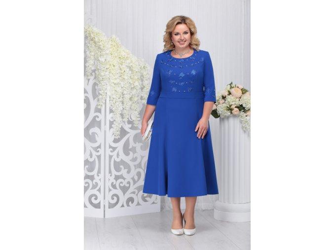 Luxusní společenské šaty pro plnoštíhlé Celestine modré