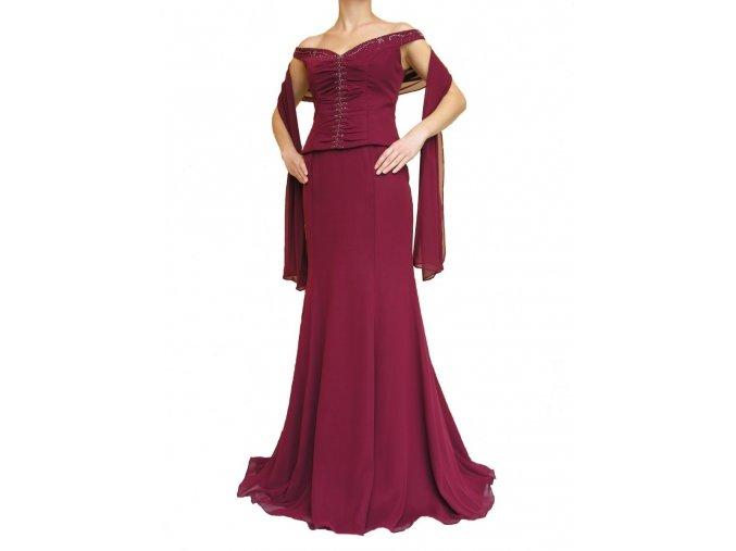 Dynasty luxusní společenské dlouhé šaty Marianne vínově červené s šálou