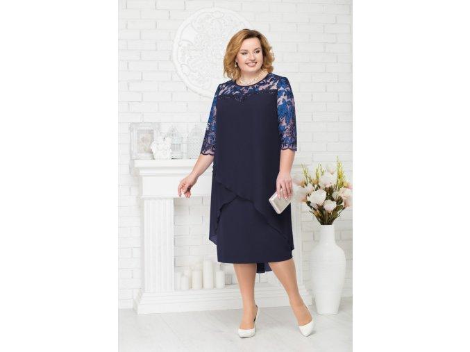 Luxusní společenské šaty pro plnoštíhlé Riccarda tmavě modré