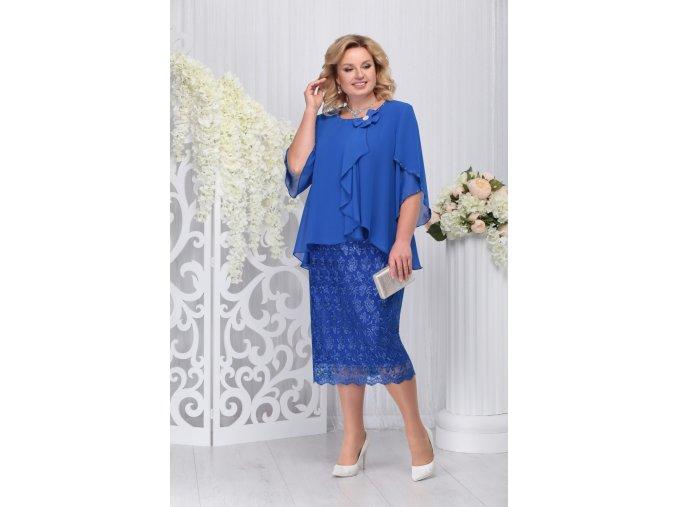 Luxusní společenské šaty pro plnoštíhlé Cornelia modré