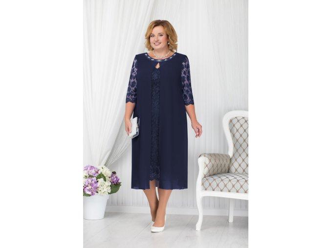 Luxusní společenské šaty pro plnoštíhlé Lucinda tmavě modré