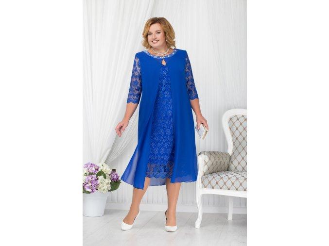 Luxusní společenské šaty pro plnoštíhlé Lucinda modré