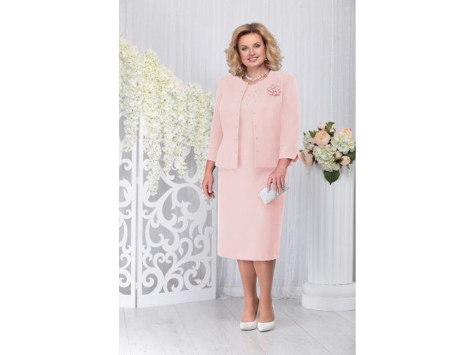 Luxusní společenské šaty pro plnoštíhlé Evangeline II broskvové s kabátkem