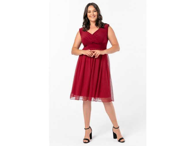 Společenské šaty pro plnoštíhlé Milly vínově červené
