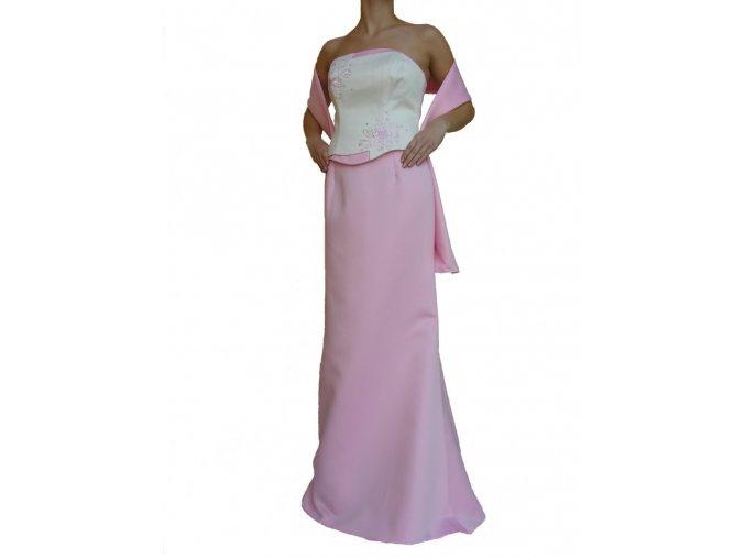 Dynasty luxusní společenské dlouhé šaty Lucille bílo-růžové s šálou