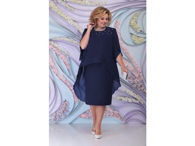 Společenské šaty pro plnoštíhlé Antonella tmavě modré