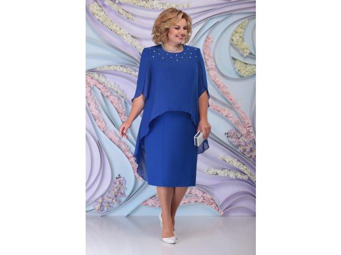 Luxusní společenské šaty pro plnoštíhlé Antonella modré