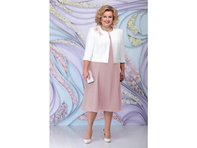 Luxusní společenské šaty pro plnoštíhlé Simone pudrové s bílým kabátkem