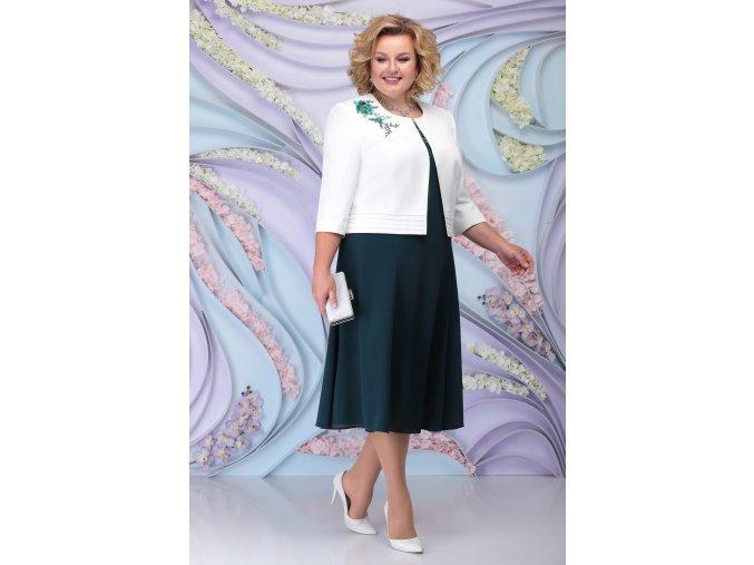 Luxusní společenské šaty pro plnoštíhlé Simone tmavě zelené s bílým kabátkem