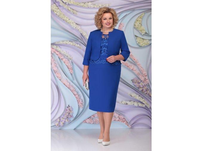 Luxusní společenské šaty pro plnoštíhlé Ornella modré s kabátkem