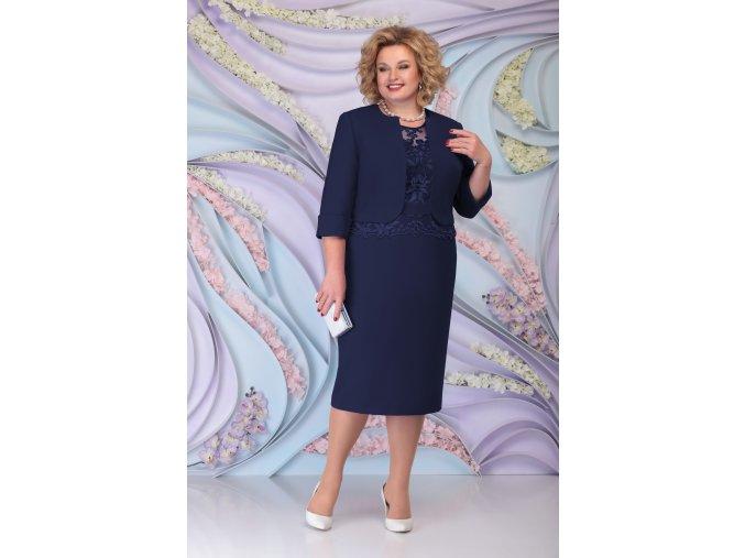 Luxusní společenské šaty pro plnoštíhlé Ornella tmavě modré s kabátkem