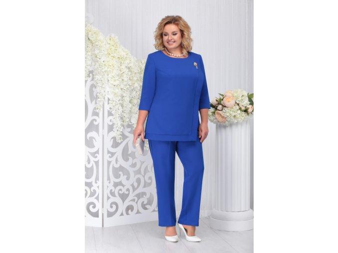 Kalhotový kostýmek pro plnoštíhlé Fabiana modrý