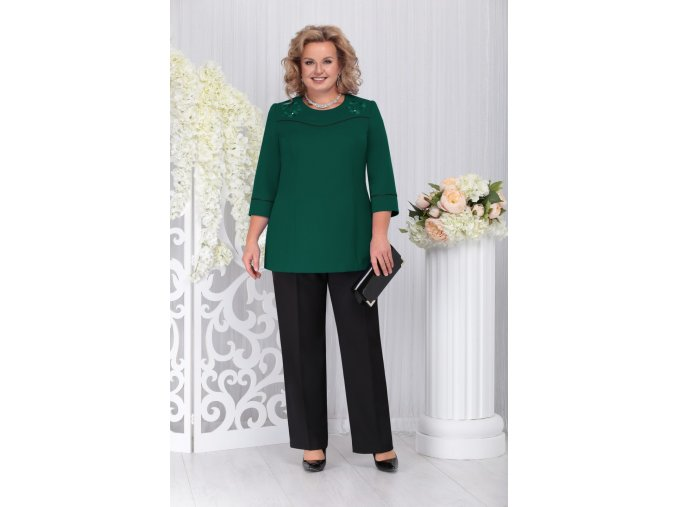 Kalhotový kostýmek pro plnoštíhlé Pasqualina černo-zelený