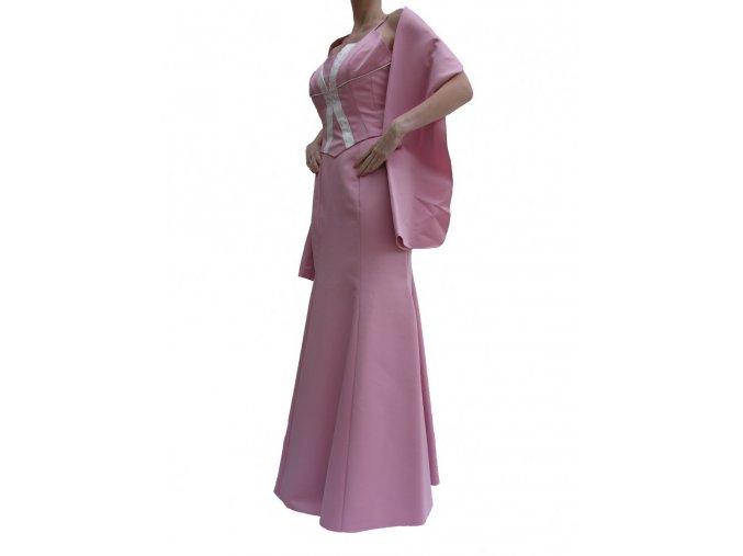 Dynasty luxusní společenské dlouhé šaty Henrietta starorůžové s šálou