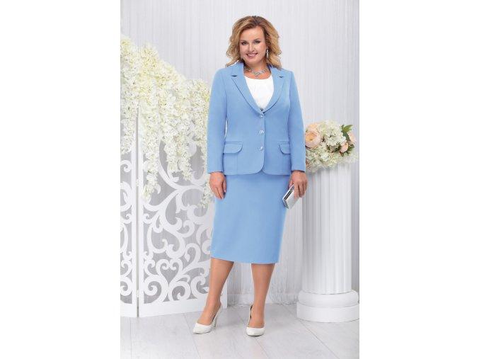 Sukňový kostýmek pro plnoštíhlé Donna světle modrý s bílou halenkou