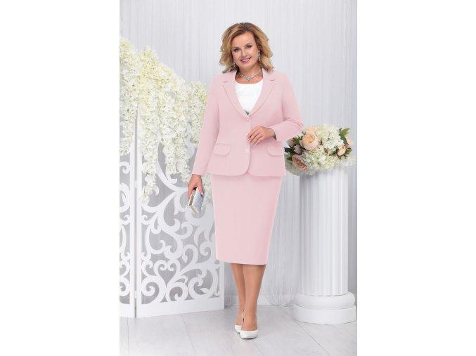 Sukňový kostýmek pro plnoštíhlé Donna pudrový s bílou halenkou