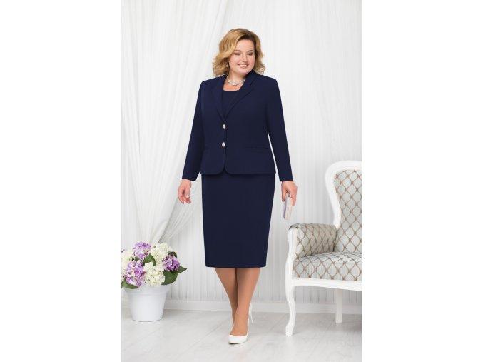 Luxusní společenské šaty pro plnoštíhlé Agnesse tmavě modré s kabátkem