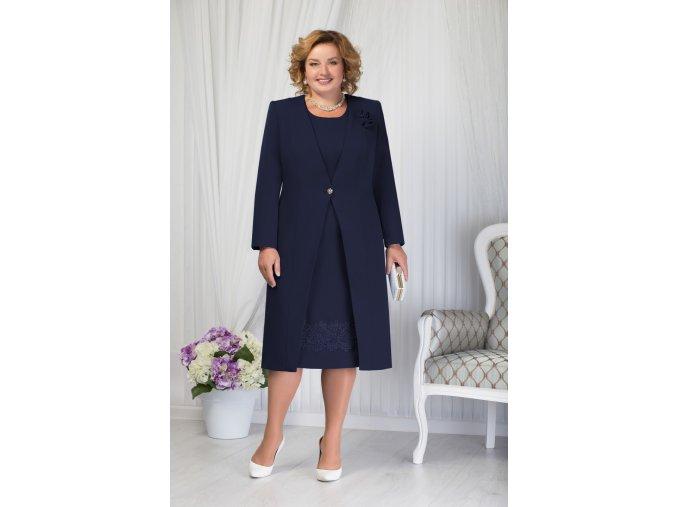 Luxusní společenské šaty pro plnoštíhlé Ombretta tmavě modré s dlouhým kabátkem