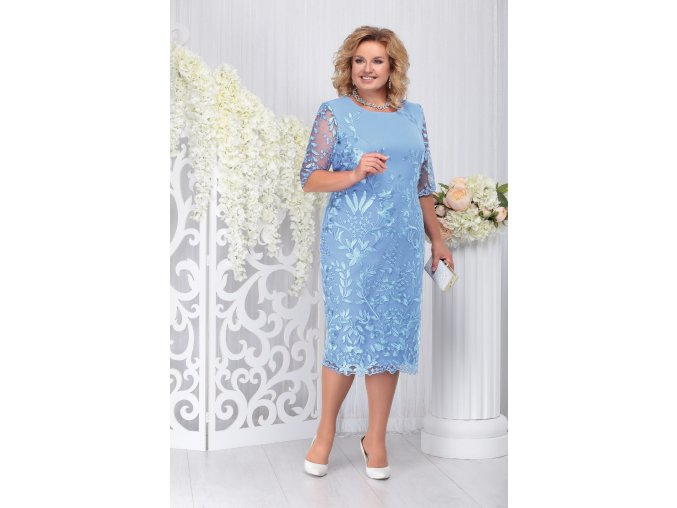 Luxusní společenské šaty pro plnoštíhlé Eleanora světle modré