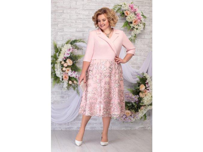 Luxusní společenské šaty pro plnoštíhlé Fidelia pudrové