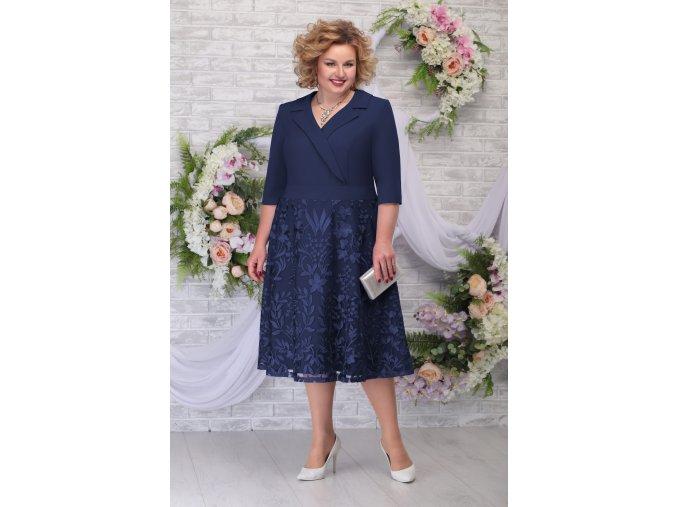 Luxusní společenské šaty pro plnoštíhlé Fidelia tmavě modré