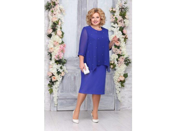 Luxusní společenské šaty pro plnoštíhlé Fabrizia modré