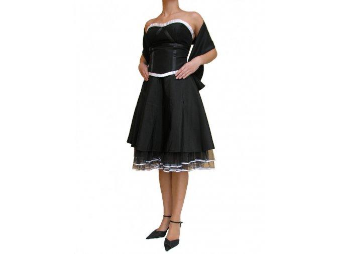 Dynasty luxusní společenské šaty Harriett černé s bílým lemováním s šálou