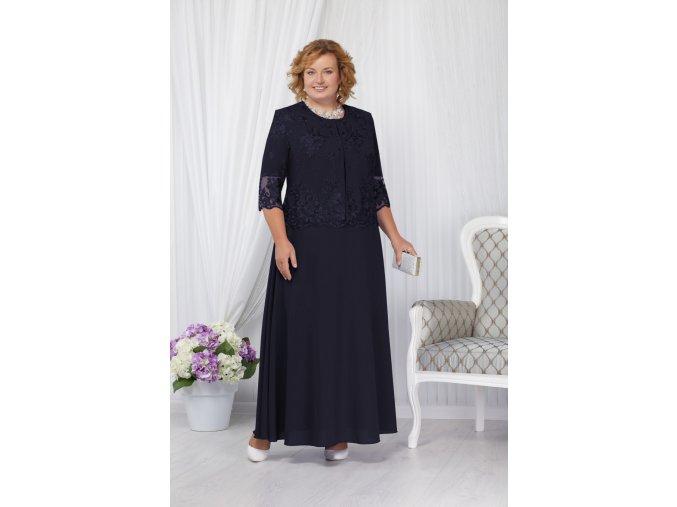 Luxusní společenské šaty pro plnoštíhlé Marcellina tmavě modré dlouhé s krajkovým svrškem