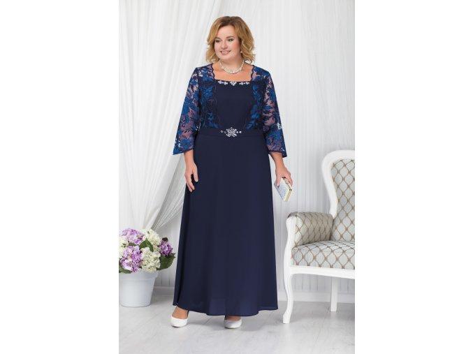 Luxusní společenské šaty pro plnoštíhlé Silvana tmavě modré dlouhé