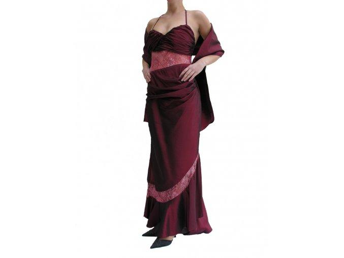 Dynasty luxusní společenské šaty Esmeralda vínově červené s šálou