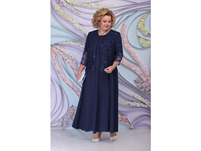 Luxusní společenské šaty pro plnoštíhlé Sorella tmavě modré dlouhé s krajkovým svrškem