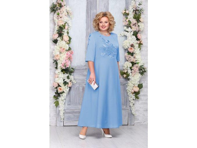 Luxusní společenské šaty pro plnoštíhlé Clementine světle modré dlouhé