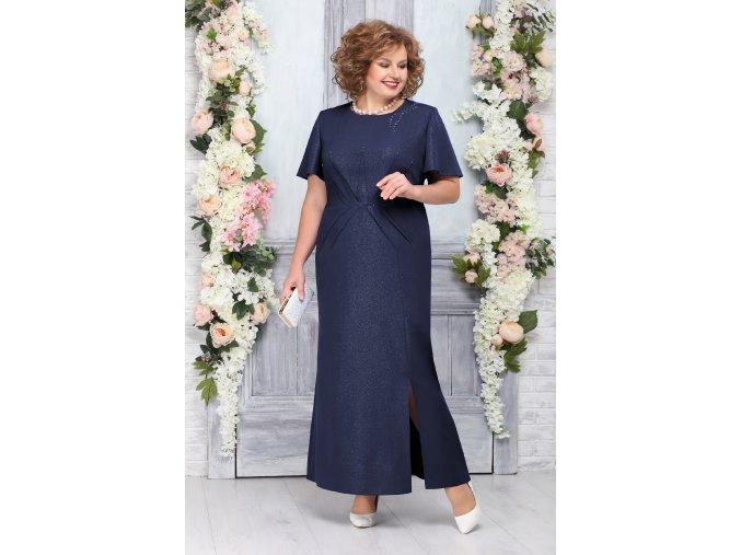 Luxusní společenské šaty pro plnoštíhlé Tomassina tmavě modré dlouhé