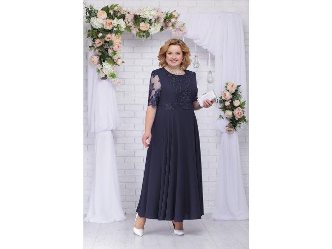 Luxusní společenské šaty pro plnoštíhlé Eugenia II tmavě modré dlouhé