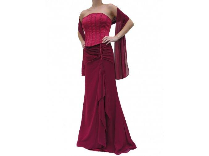 Dynasty luxusní společenské šaty Dominique vínově červené s šálou