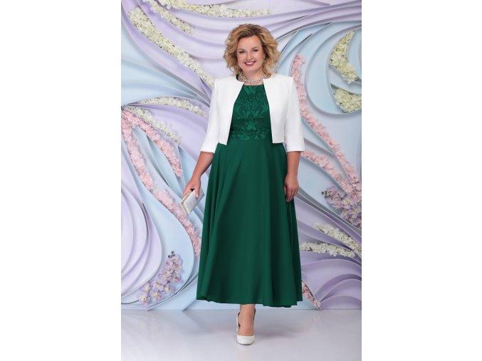 Luxusní společenské šaty pro plnoštíhlé Eugenia III smaragdově zelené dlouhé s bílým kabátkem