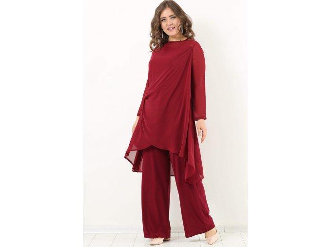 Společenský kalhotový kostýmek pro plnoštíhlé Lorelei vínově červený