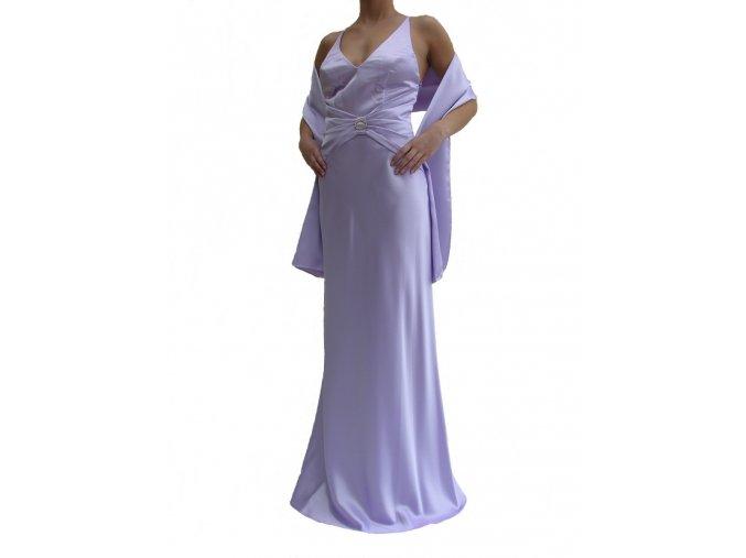 Dynasty luxusní společenské šaty Danette světle fialové s šálou