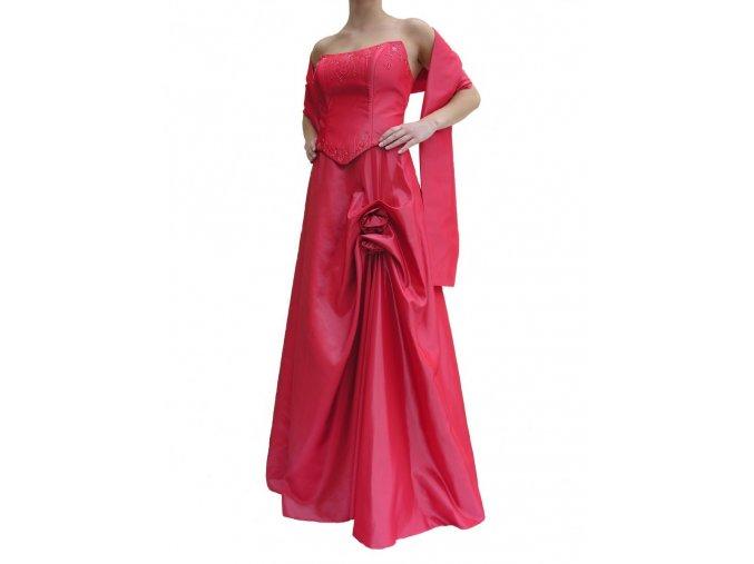 Dynasty luxusní společenské šaty Charlotte lososové s šálou