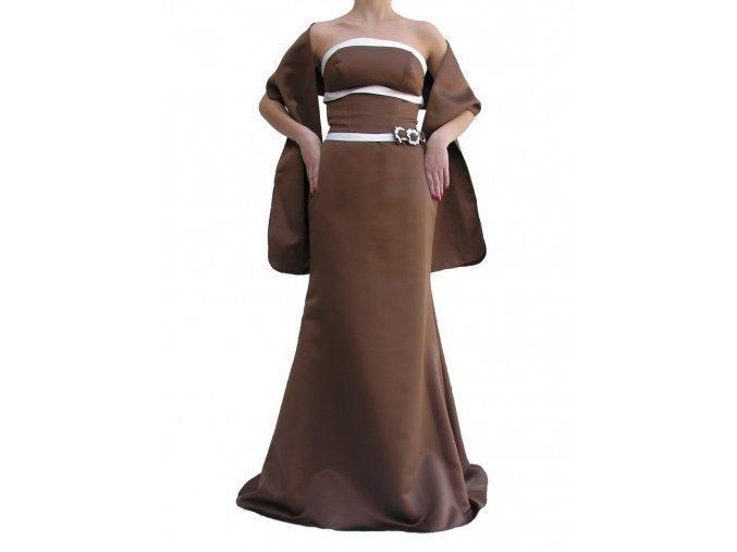 Dynasty luxusní společenské šaty Bridgette hnědé s šálou