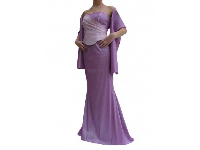 Dynasty luxusní společenské šaty Arlene fialové s šálou