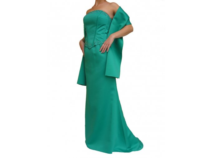 Dynasty luxusní společenské šaty Anastasia smaragdově zelené s šálou