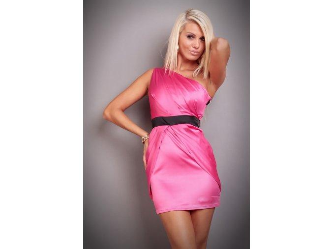 Společenské šaty Moniss černo-růžové II
