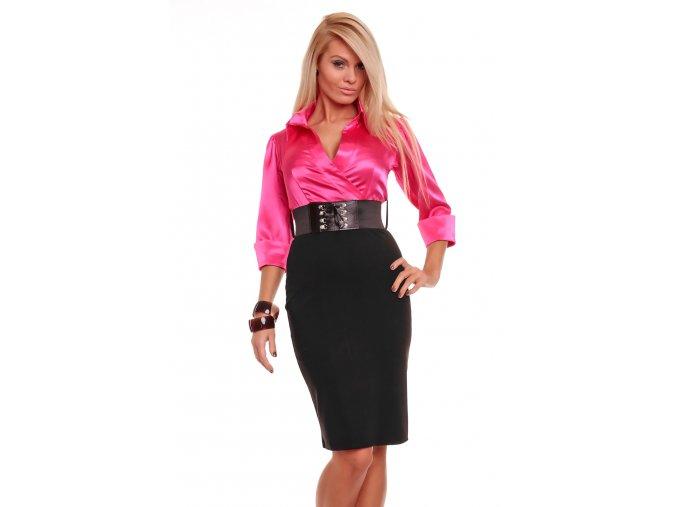 Business šaty Rebecca růžovo-černé