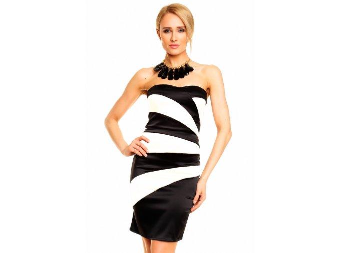Společenské šaty Bethamy bílo-černé