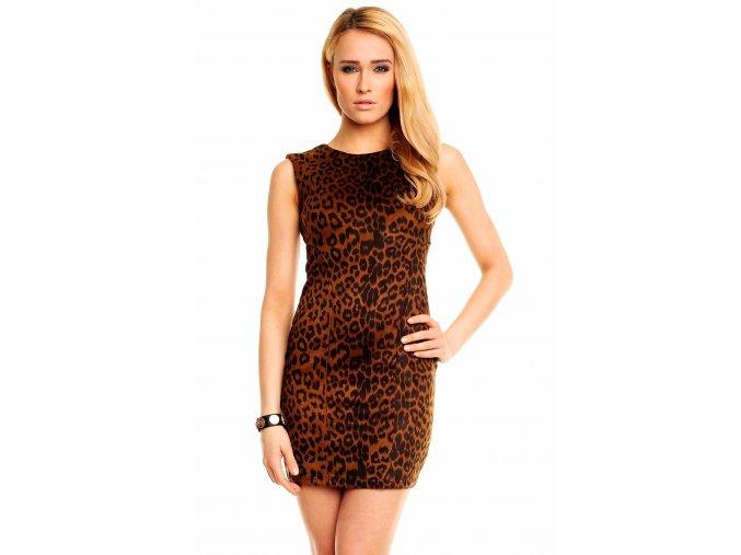 Společenské šaty Randi s leopardím vzorem hnědé