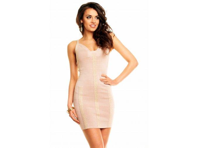 Sexy společenské šaty Vonnie zlato-béžové